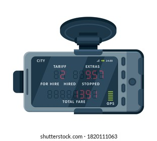 Taximeter Device, Electronic Measurement Appliance with Buttons and Screen for Taxi Car Vector Illustration on White Background