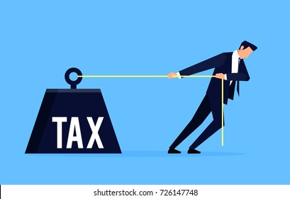 Taxpayer. Businessman is pulling a huge weight with a tax. Business concept taxpayer in a flat style. Vector illustration.