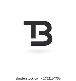 TB or bt letter logo design template. Black and white color tb or bt letter mark logo or symbol or icon