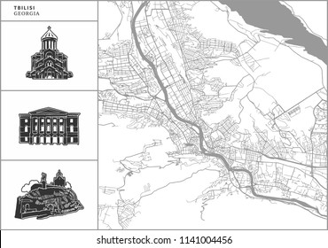 Tbilisi city map with hand-drawn architecture icons. All drawigns, map and background separated for easy color change. Easy repositioning in vector version.
