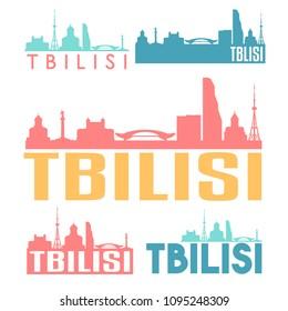 Tbilisi Georgia Flat Icon Skyline Vector Silhouette Design Set