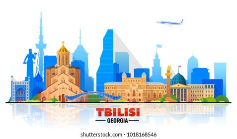 Tbilisi (Georgia) skyline on a white background. Flat vector illustration. Business travel and tourism concept with modern buildings. Image for banner or web site.
