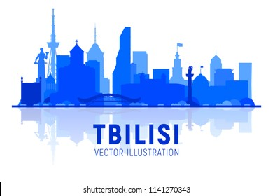 Tbilisi (Georgia) skyline silhouette on a white background. Flat vector illustration. Business travel and tourism concept with modern buildings. Image for banner or web site.