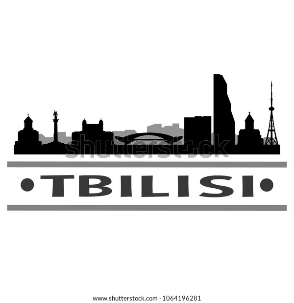Tbilisi Georgia Skyline Silhouette Stamp City Royalty Free