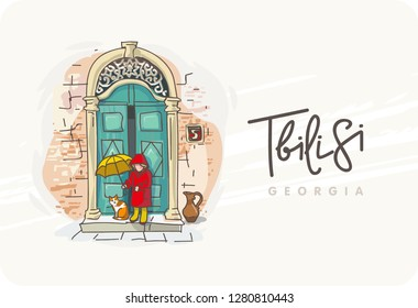 Tbilisi. Georgia. World travel. Decorative Text. Poster, postcard, calendar. A girl in the rain with a cat near the front door. Old residential house.