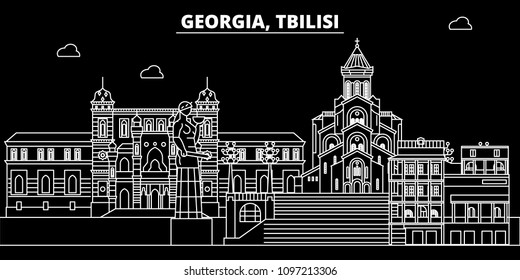Tbilisi silhouette skyline. Georgia - Tbilisi vector city, georgian linear architecture, buildings. Tbilisi travel illustration, outline landmarks. Georgia flat icons, georgian line banner