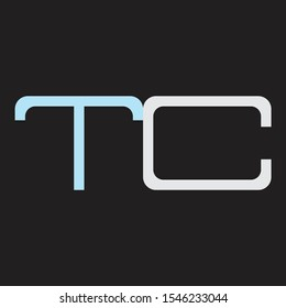 TC Abstrac logo vector Monogram isolated on black background