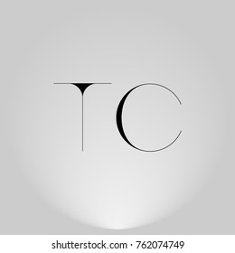 TC Black thin minimalist LOGO Design with Highlight on Gray background.