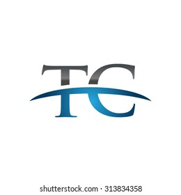 TC initial company blue swoosh logo