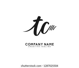 TC Initial Handwriting Logo Template Vector