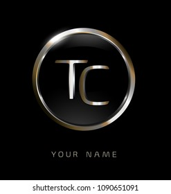 TC initial letters with circle elegant logo golden silver black background