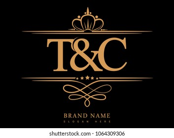 T&C Initial logo, Ampersand initial logo gold with crown and classic pattern