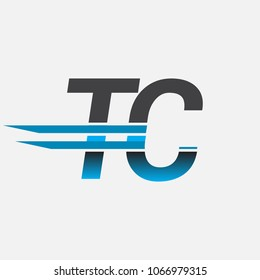 TC initial logo company name colored black and blue, Simple and Modern Logo Design.