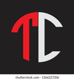 TC Initial Logo design Monogram Isolated on black background