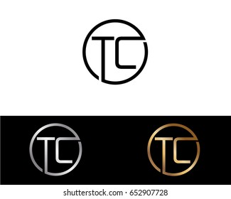 Tc Logo. Letter Design Vector with Red and Black Gold Silver Colors