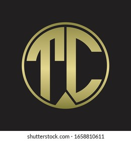 TC Logo monogram circle with piece ribbon style on gold colors