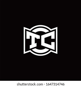 TC logo monogram with ribbon style circle rounded design template
