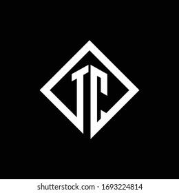TC logo monogram with square rotate style design template