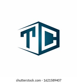 TC monogram logo with hexagon shape and negative space style ribbon design template