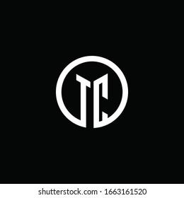 TC monogram logo isolated with a rotating circle