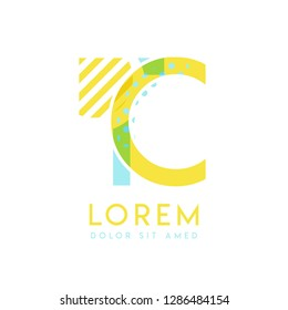 TC natural logo design with yellow and ocean blue color that can be used for creative business and advertising. CT logo is filled with bubbles and dots, can be used for all areas of the company