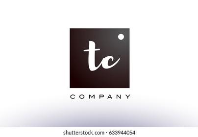 TC T C black white handwritten handwriting alphabet company letter logo square design template dot dots creative abstract