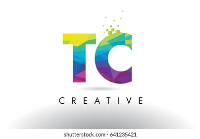 TC T C Colorful Letter Design with Creative Origami Triangles Rainbow Vector.