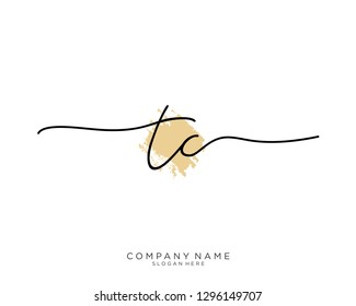 TC T C Initial handwriting logo template