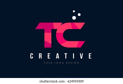 TC T C Purple Letter Logo Design with Low Poly Pink Triangles Concept