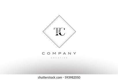tc t c  retro vintage black white alphabet company letter logo line design vector icon template