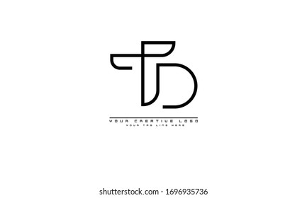 TD DT abstract vector logo monogram template