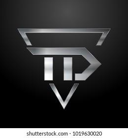 TD Logo, Metal Logo, Silver Logo, Monogram, Polygon
