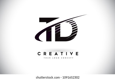 TD T D Letter Logo Design with Swoosh and Black Lines. Modern Creative zebra lines Letters Vector Logo