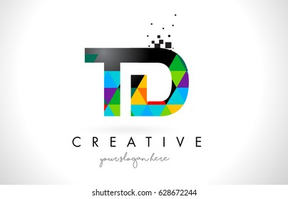 TD T D Letter Logo with Colorful Vivid Triangles Texture Design Vector Illustration.