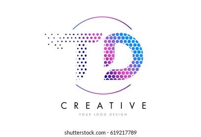 TD T D Pink Magenta Dotted Bubble Letter Logo Design. Dots Lettering Vector Illustration