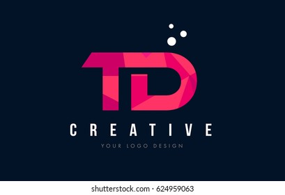 TD T D Purple Letter Logo Design with Low Poly Pink Triangles Concept