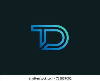 TD tech letter logo design. Letters T and D line business monogram emblem. Abstract future TD linear symbol. Graphic Alphabet Symbol for Corporate Business Identity. Vector element. Vector element