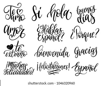 Te Amo, Si, Hola, Porque, Bienvenida, Felicitaciones, Gracias translated from Spanish handwritten phrases Why, Hello, I Love You etc. Vector calligraphy set on white background.
