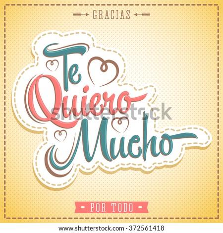 Te Quiero Mucho Love You Much Stock Vektorgrafik Lizenzfrei