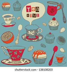 Tea background with cakes.  Vector illustration.