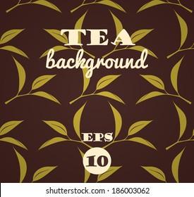 Tea background. Vector seamless pattern.