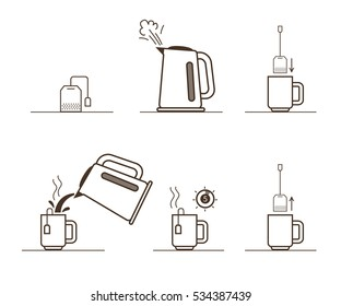 Tea bag brewing cooking directions. Steps how to cooking tea. Vector illustration.