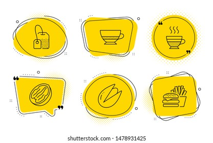 Tea bag, Cafe creme and Burger signs. Chat bubbles. Pecan nut, Bombon coffee and Pistachio nut line icons set. Vegetarian food, Cafe bombon, Brew hot drink. Hot coffee. Food and drink set. Vector
