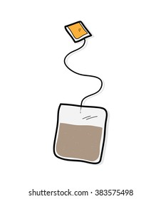 Tea Bag, a hand drawn vector illustration of a tea bag.