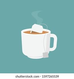 Tea bag, hot teabag and cup, flat design vector illustration