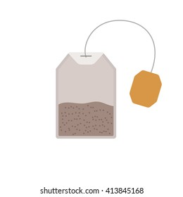 Tea bag isolated on white background. Medical tea. Tea bag closeup. Tea bag vector concept