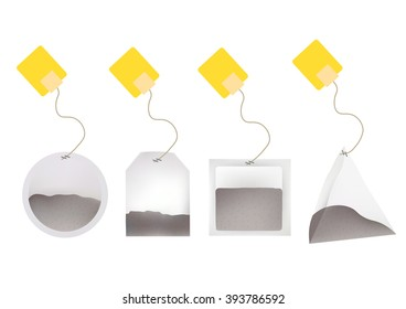Tea Bags Illustration with Labels In Round, Rectangle, Square, Pyramid Shapes. Vector Template Illustration For Your Design. Isolated On White Background.