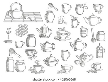 Tea and beverages icons set with cups and mugs with tea leaves, sugar cubes and tea bags, oriental tea sets, retro ceramic teapots and modern glass pots with plunger and infuser, jars of natural honey