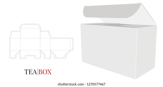Tea Box Template, Open Paper Box. Vector with die cut / laser cut layers. Packaging Design, 3D presentation. White, clear, blank, isolated Tea Box mock up on white background with perspective view
