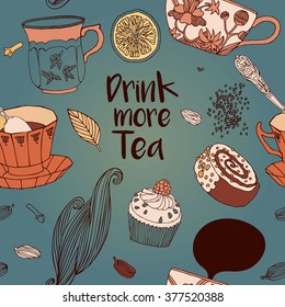 Tea Branding Design.Tea card. Sweet pattern. Greeting card. Invitation. Tea,sweets seamless doodle pattern